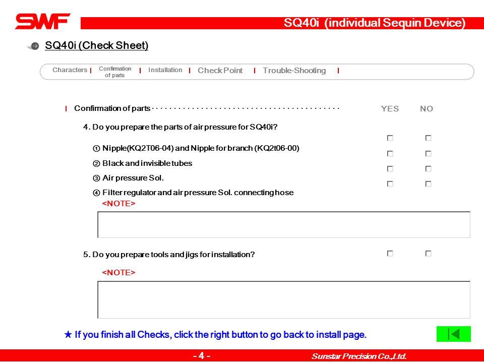 SQ40i (individual Sequin Device) Installation method · · · · · · · · · · · · · · · · · · · · · · · · · · · · · · · · · · · · · · · · · · · · 9.