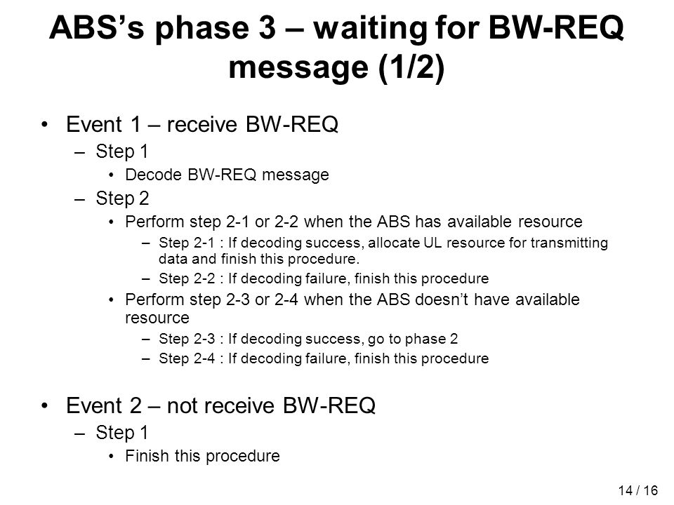 14 / 16 ABSs phase 3 – waiting for BW-REQ message (1/2) Event 1 – receive BW-REQ –Step 1 Decode BW-REQ message –Step 2 Perform step 2-1 or 2-2 when the ABS has available resource –Step 2-1 : If decoding success, allocate UL resource for transmitting data and finish this procedure.