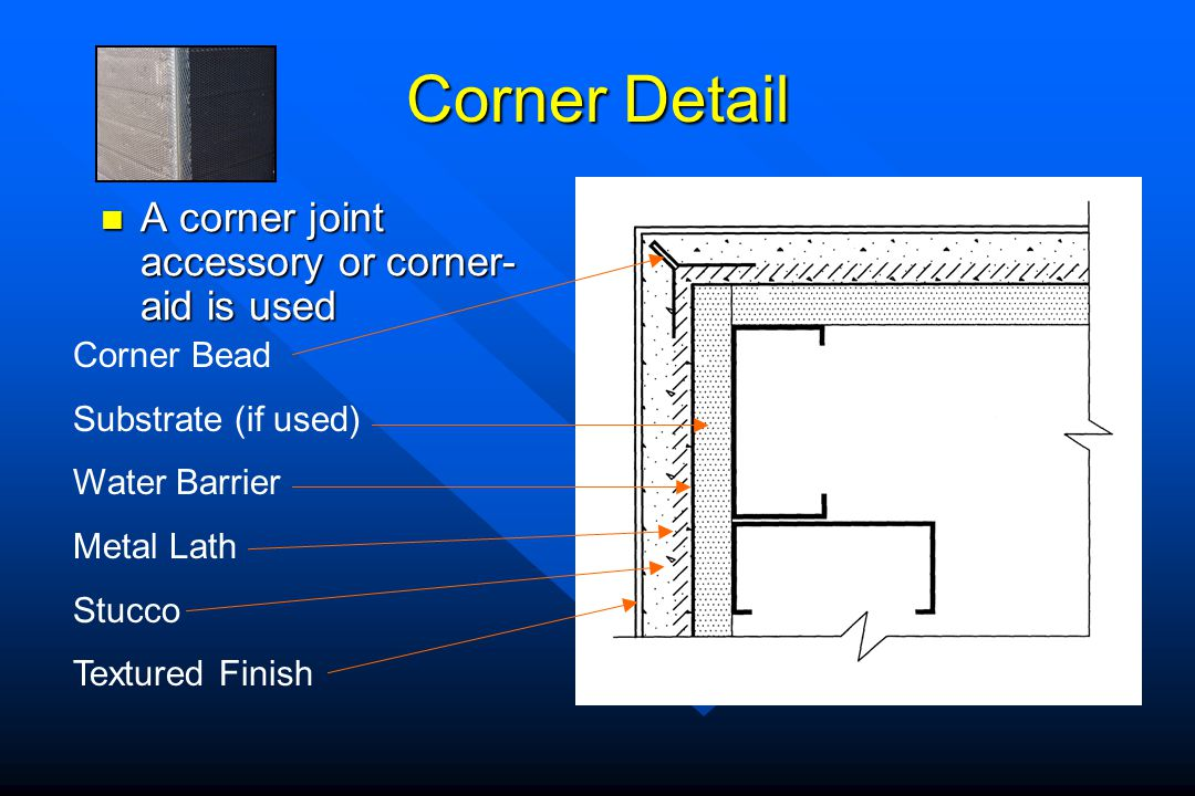 Corner Detail A corner joint accessory or corner- aid is used A corner joint accessory or corner- aid is used Corner Bead Substrate (if used) Water Ba