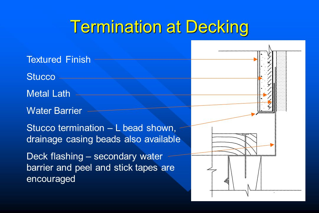 Termination at Decking Textured Finish Stucco Metal Lath Water Barrier Stucco termination – L bead shown, drainage casing beads also available Deck fl