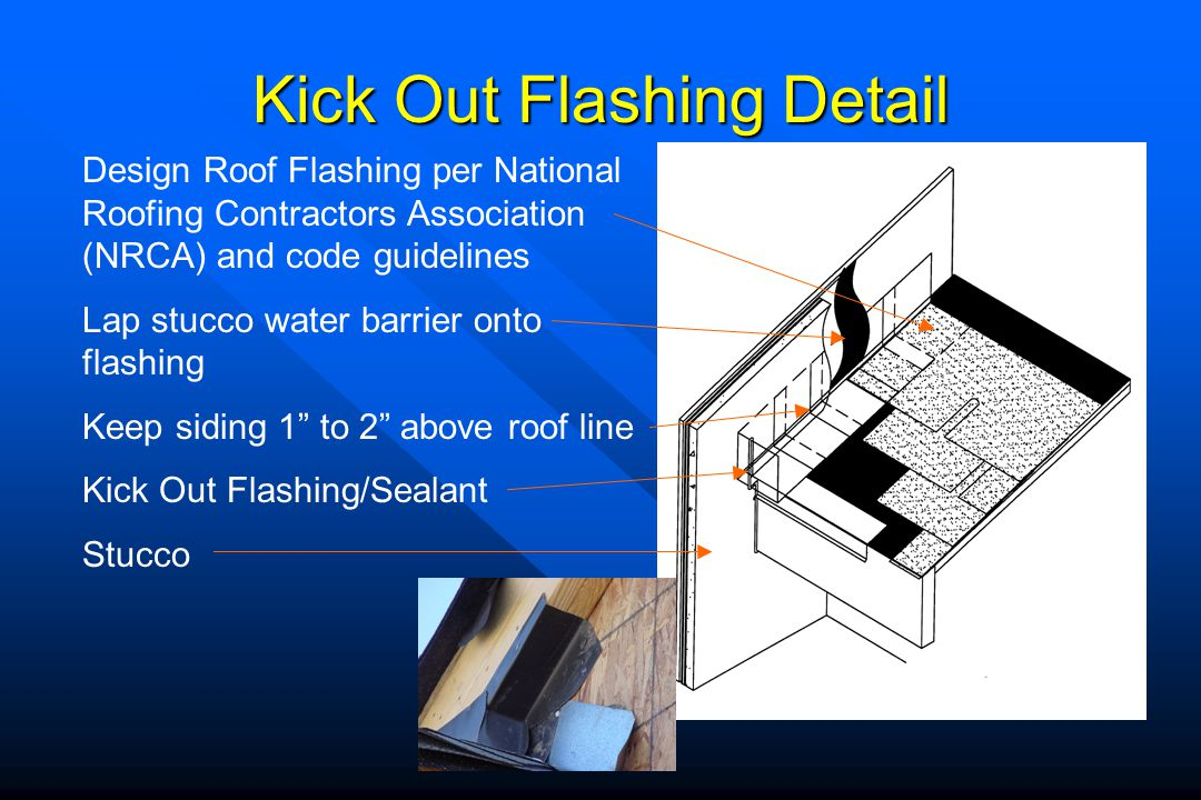 Kick Out Flashing Detail Design Roof Flashing per National Roofing Contractors Association (NRCA) and code guidelines Lap stucco water barrier onto fl