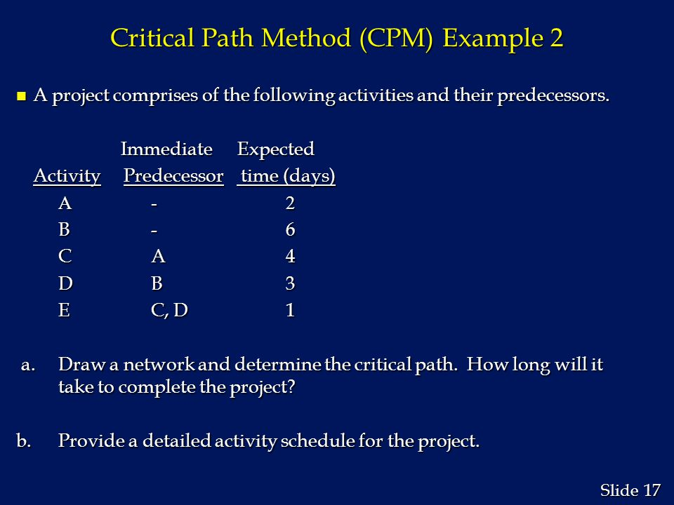 17 Slide Critical Path Method (CPM) Example 2 n A project comprises of the following activities and their predecessors. Immediate Expected Immediate E