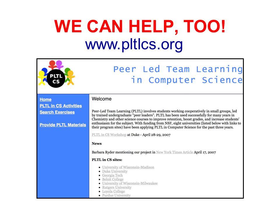 WE CAN HELP, TOO! www.pltlcs.org
