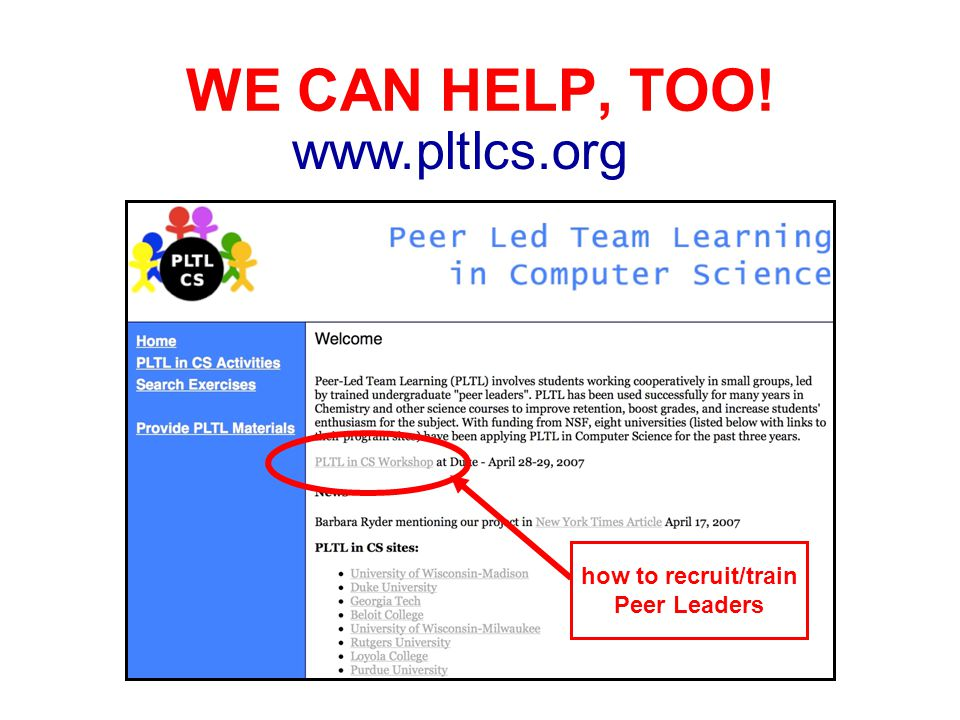 WE CAN HELP, TOO! www.pltlcs.org how to recruit/train Peer Leaders