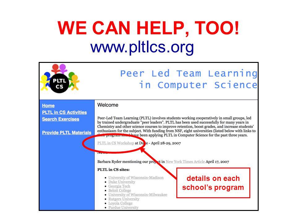 WE CAN HELP, TOO! www.pltlcs.org details on each schools program