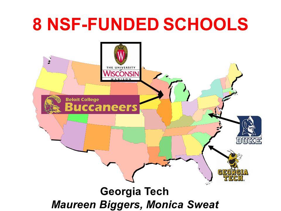8 NSF-FUNDED SCHOOLS Georgia Tech Maureen Biggers, Monica Sweat