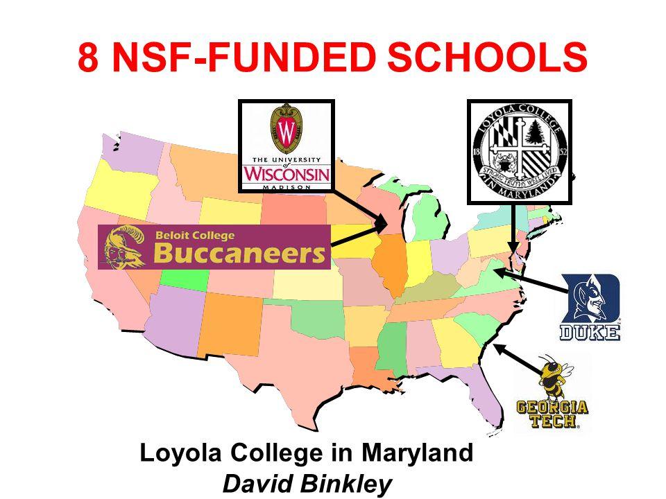 Loyola College in Maryland David Binkley 8 NSF-FUNDED SCHOOLS