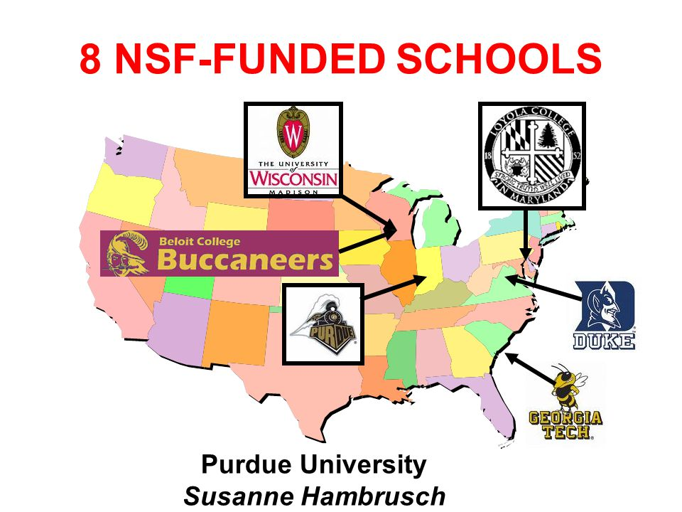 Purdue University Susanne Hambrusch 8 NSF-FUNDED SCHOOLS