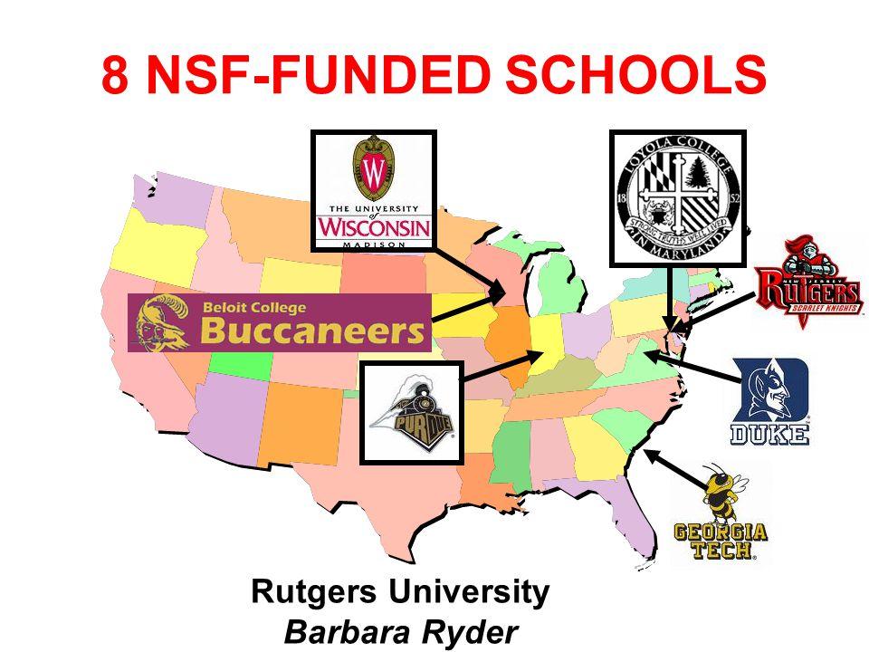 Rutgers University Barbara Ryder 8 NSF-FUNDED SCHOOLS