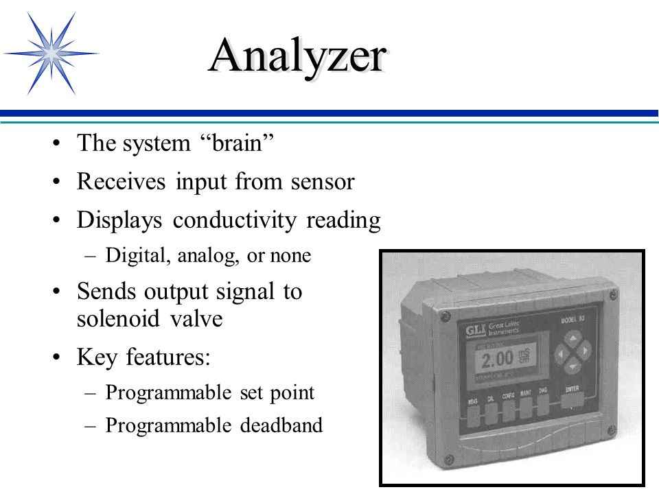 Analyzer The system brain Receives input from sensor Displays conductivity reading –Digital, analog, or none Sends output signal to solenoid valve Key