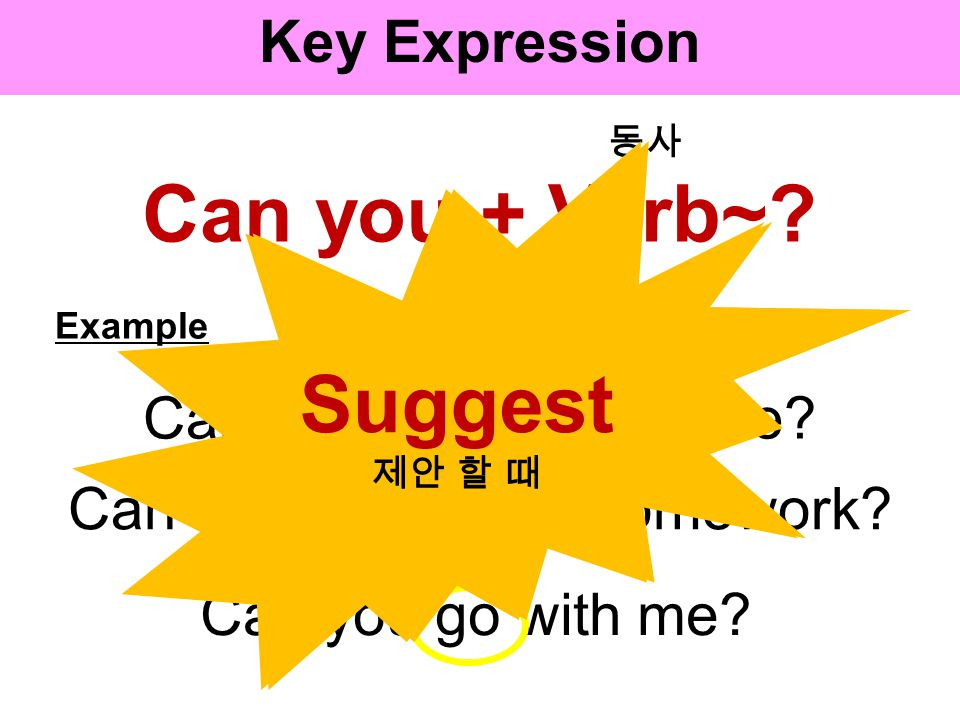 Key Expression Lets + Verb. Example Lets meet at 1 p.m..