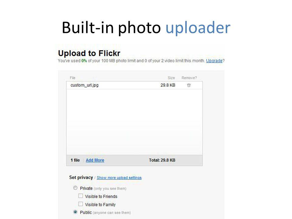 Built-in photo uploader