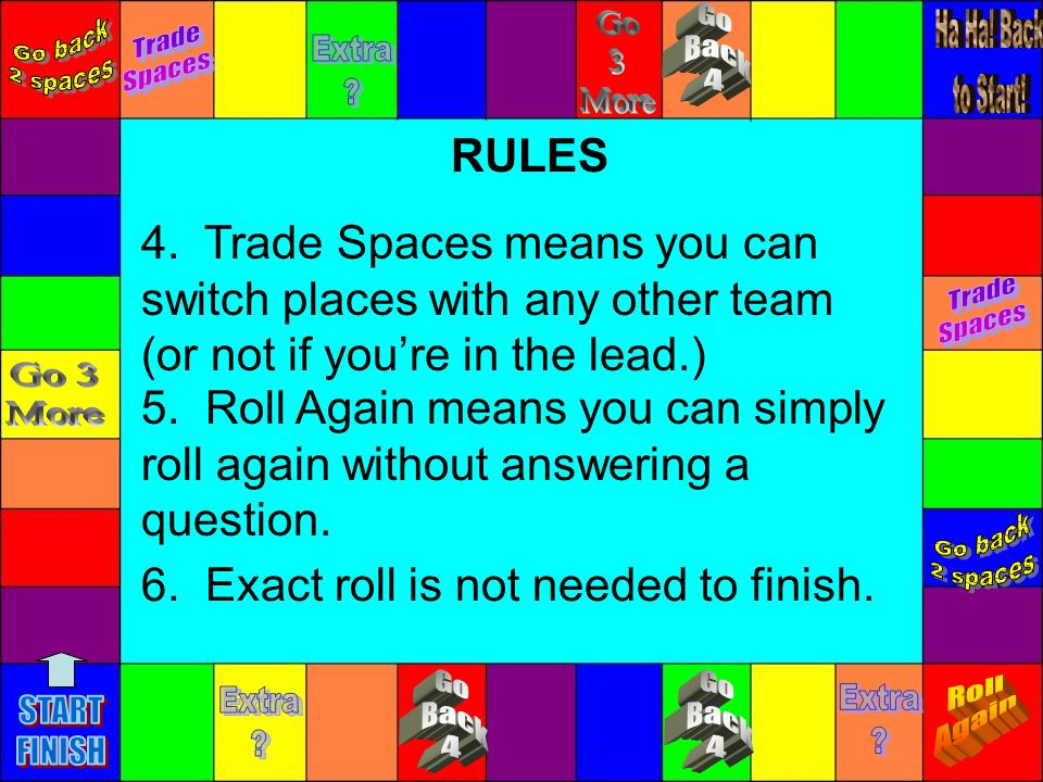 4. Trade Spaces means you can switch places with any other team (or not if youre in the lead.) RULES 5. Roll Again means you can simply roll again wit