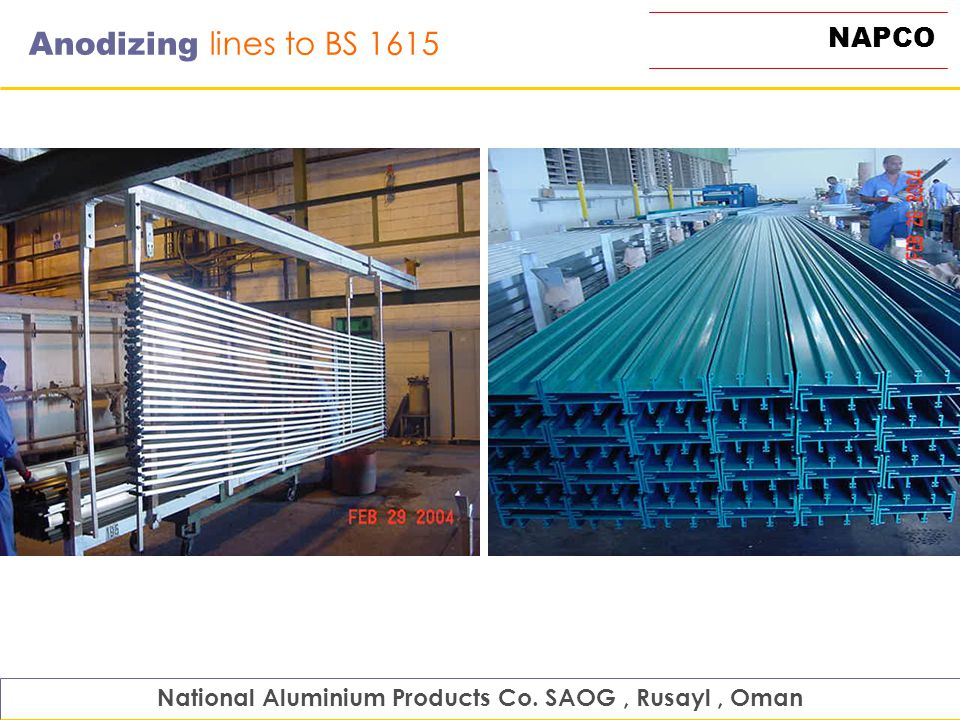 NAPCO Anodizing lines to BS 1615 National Aluminium Products Co. SAOG, Rusayl, Oman