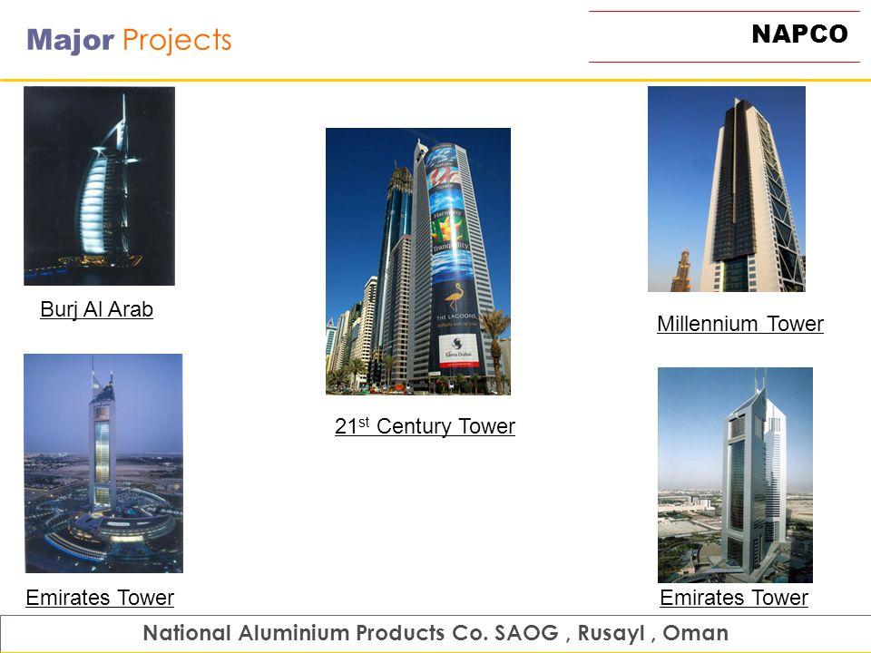 NAPCO Major Projects National Aluminium Products Co. SAOG, Rusayl, Oman 21 st Century Tower Burj Al Arab Emirates Tower Millennium Tower Emirates Towe