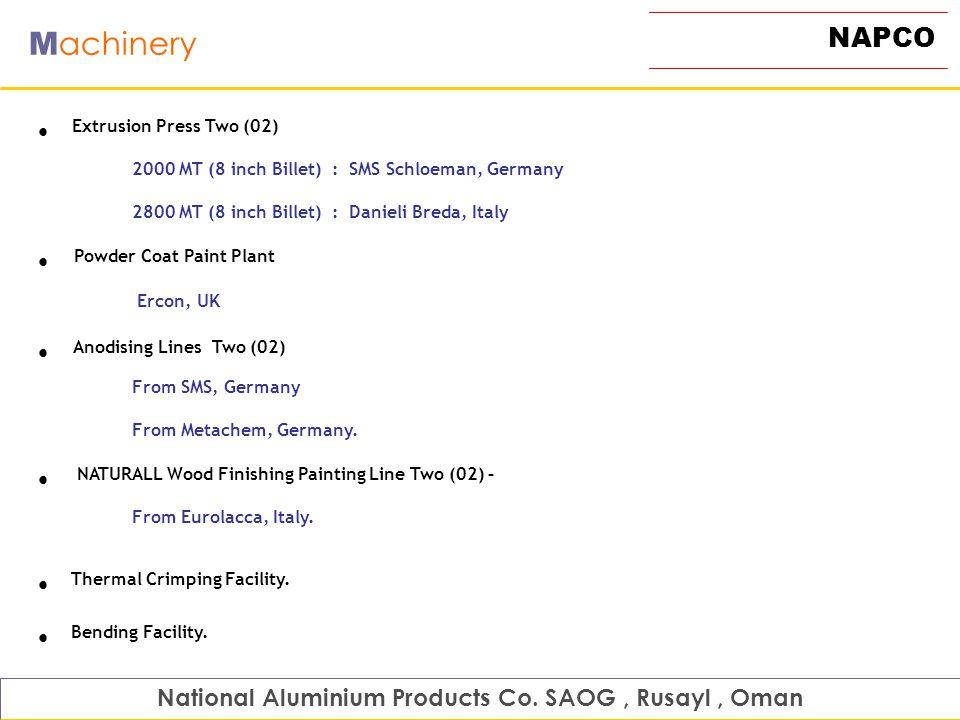 NAPCO M achinery Extrusion Press Two (02) 2000 MT (8 inch Billet) : SMS Schloeman, Germany 2800 MT (8 inch Billet) : Danieli Breda, Italy National Alu