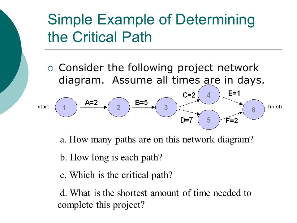 Simple Example of Determining the Critical Path Consider the following project network diagram. Assume all times are in days. a. How many paths are on