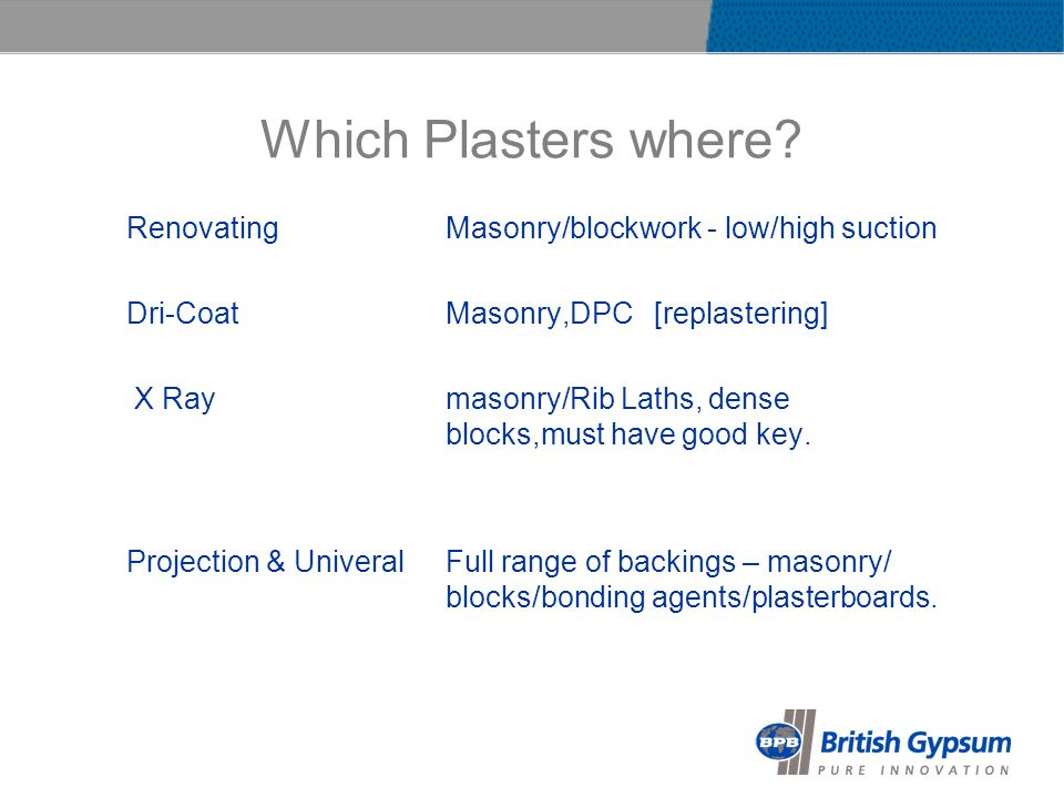 Which Plasters where.