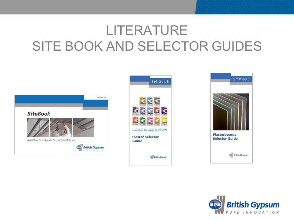 LITERATURE SITE BOOK AND SELECTOR GUIDES