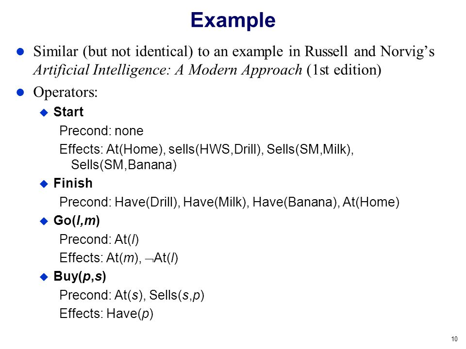 10 Example Similar (but not identical) to an example in Russell and Norvigs Artificial Intelligence: A Modern Approach (1st edition) Operators: Start