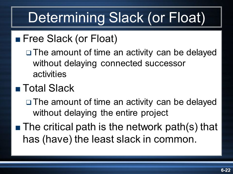 6-22 Determining Slack (or Float) Free Slack (or Float) The amount of time an activity can be delayed without delaying connected successor activities