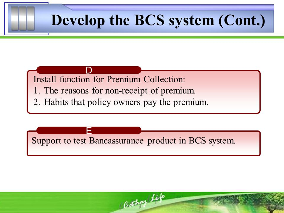 Develop the BCS system (Cont.) Install function for Premium Collection: 1.The reasons for non-receipt of premium. 2.Habits that policy owners pay the