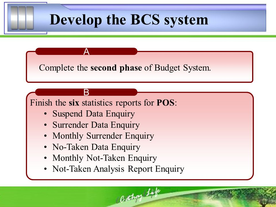 Develop the BCS system AS attaining Quota(%) B Finish the six statistics reports for POS: Suspend Data Enquiry Surrender Data Enquiry Monthly Surrende