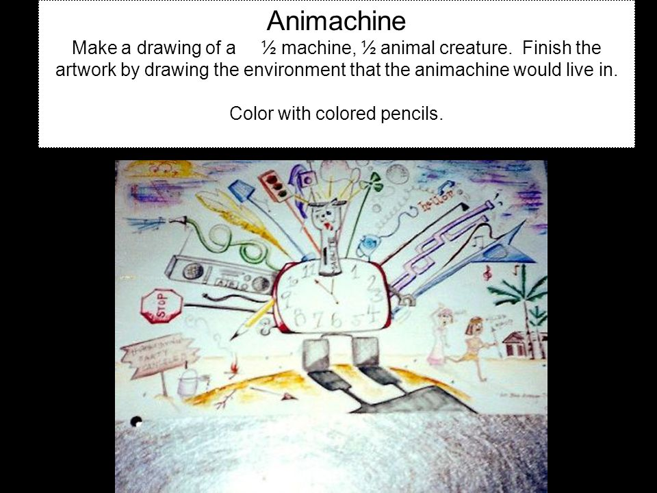 Animachine Make a drawing of a ½ machine, ½ animal creature.