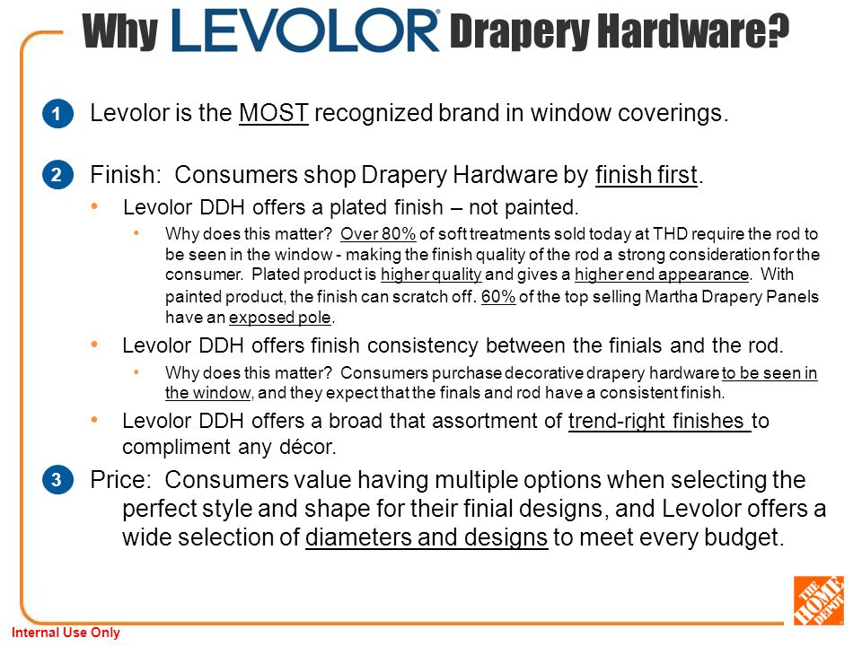 Internal Use Only Why Drapery Hardware. Levolor is the MOST recognized brand in window coverings.