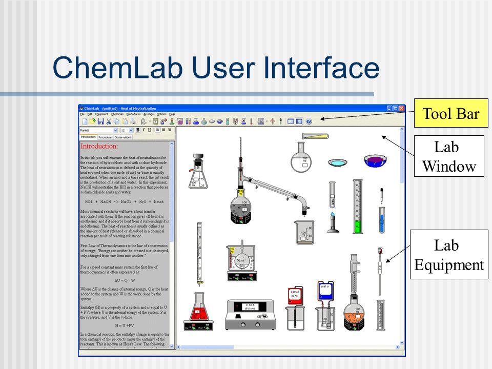 ChemLab User Interface Lab Window Lab Equipment Tool Bar