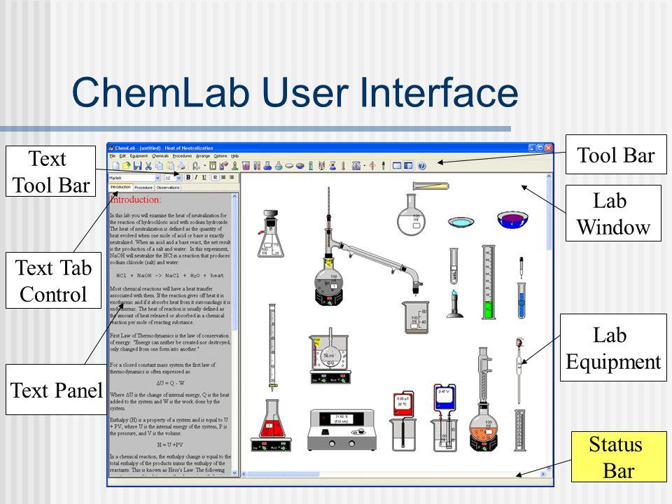 ChemLab User Interface Text Tab Control Lab Window Text Panel Lab Equipment Tool Bar Text Tool Bar Status Bar