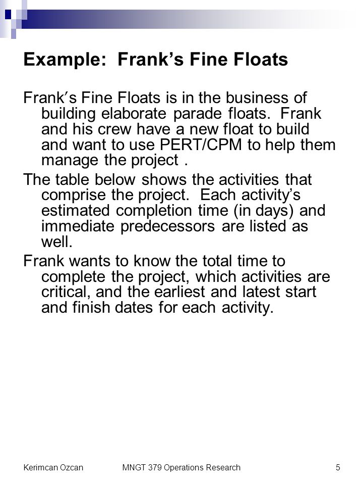 Kerimcan OzcanMNGT 379 Operations Research5 Example: Franks Fine Floats Frank s Fine Floats is in the business of building elaborate parade floats. Fr