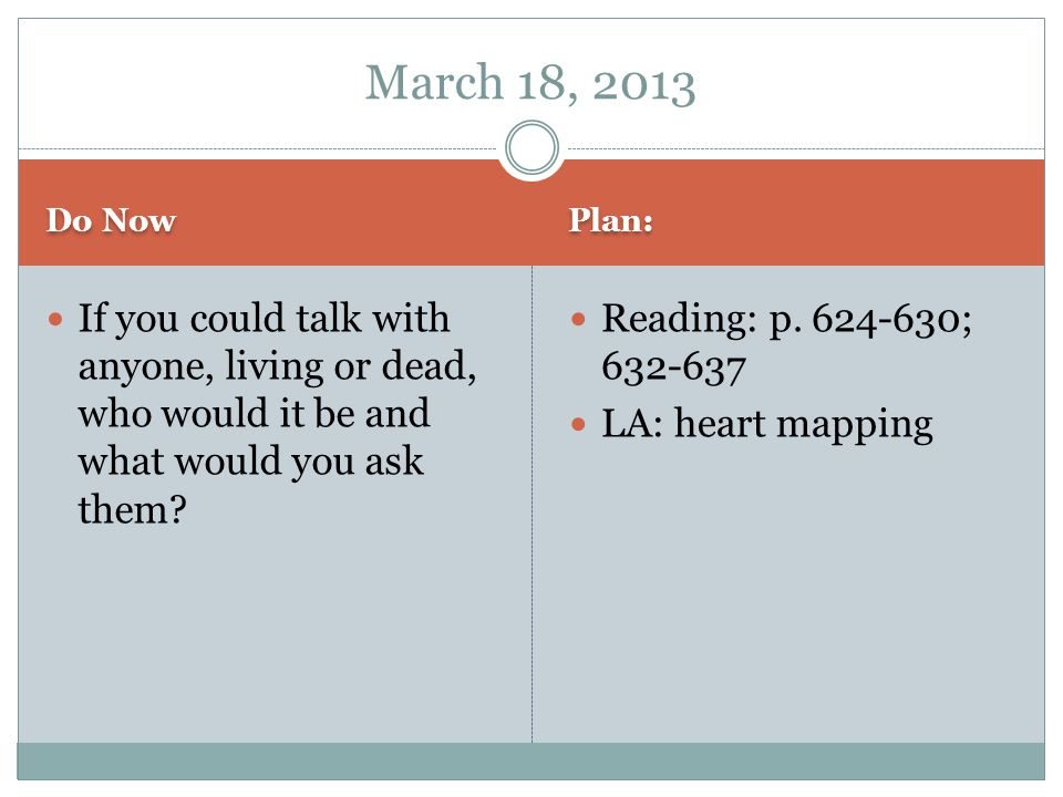 Do Now Plan: If you could talk with anyone, living or dead, who would it be and what would you ask them.