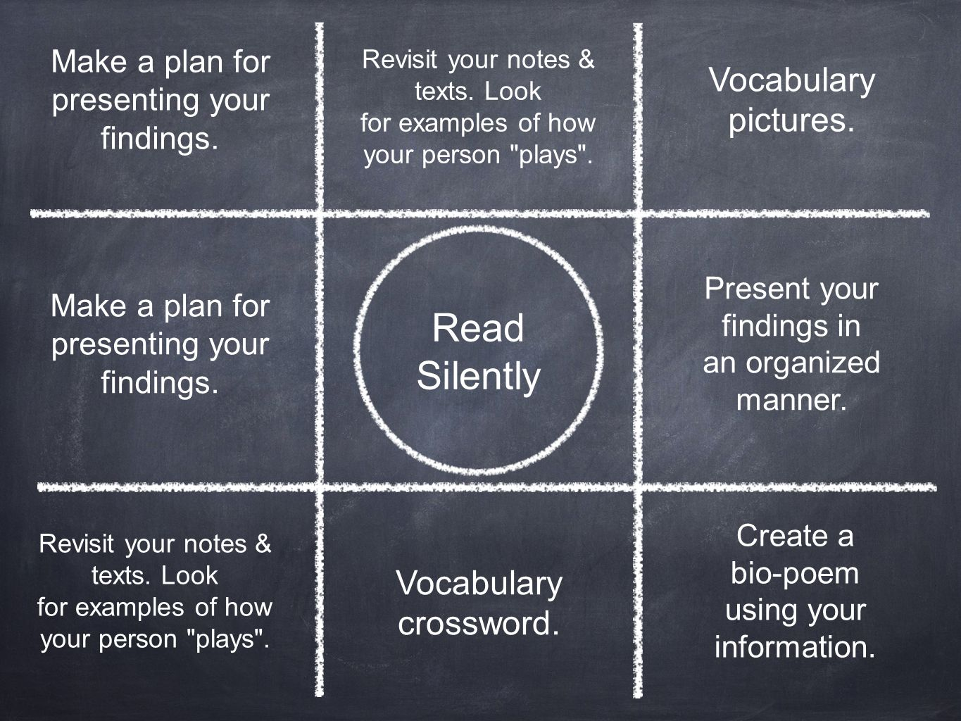 Read Silently Present your findings in an organized manner. Make a plan for presenting your findings. Vocabulary crossword. Revisit your notes & texts