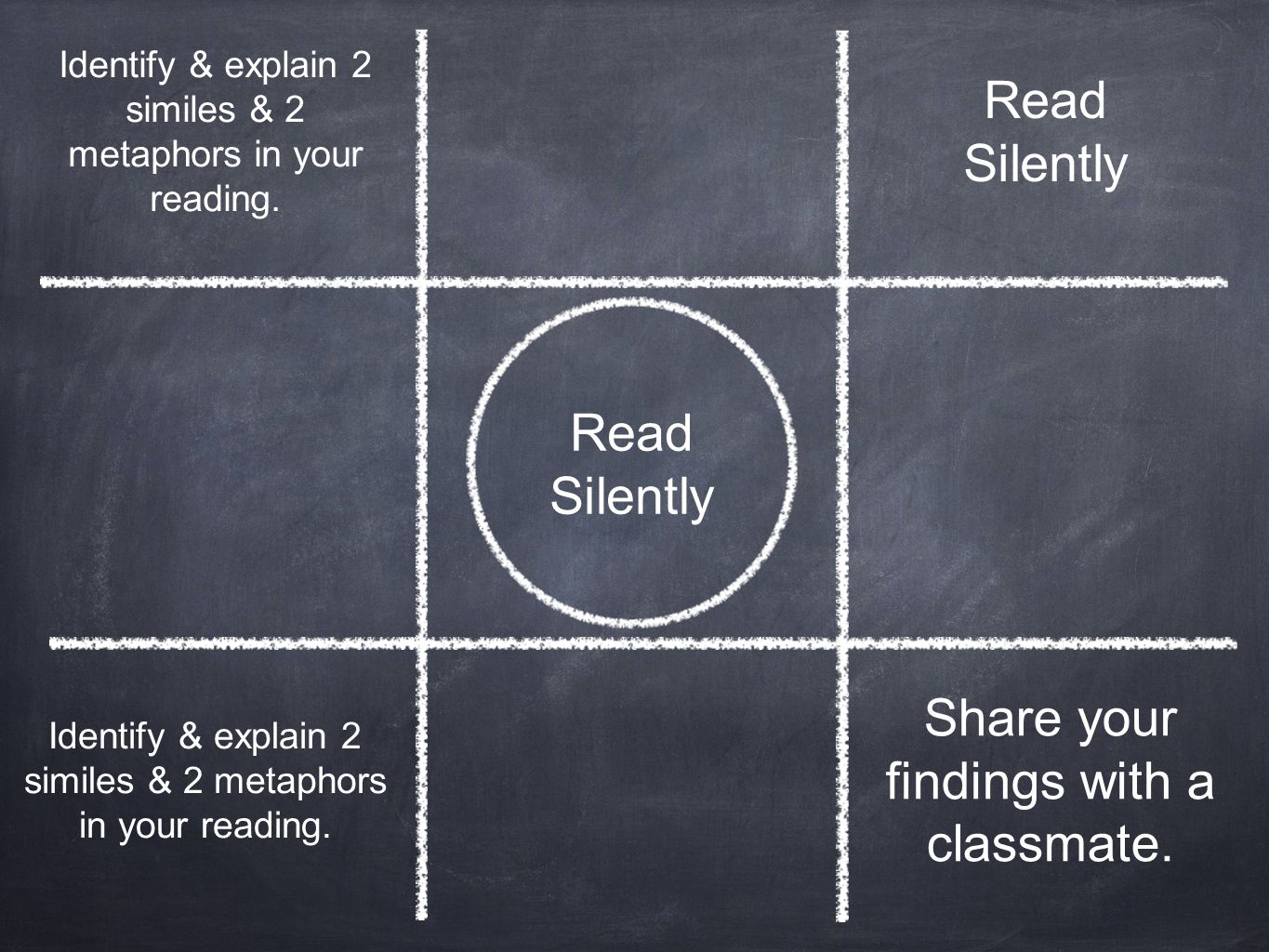 Read Silently Identify & explain 2 similes & 2 metaphors in your reading. Share your findings with a classmate. Read Silently