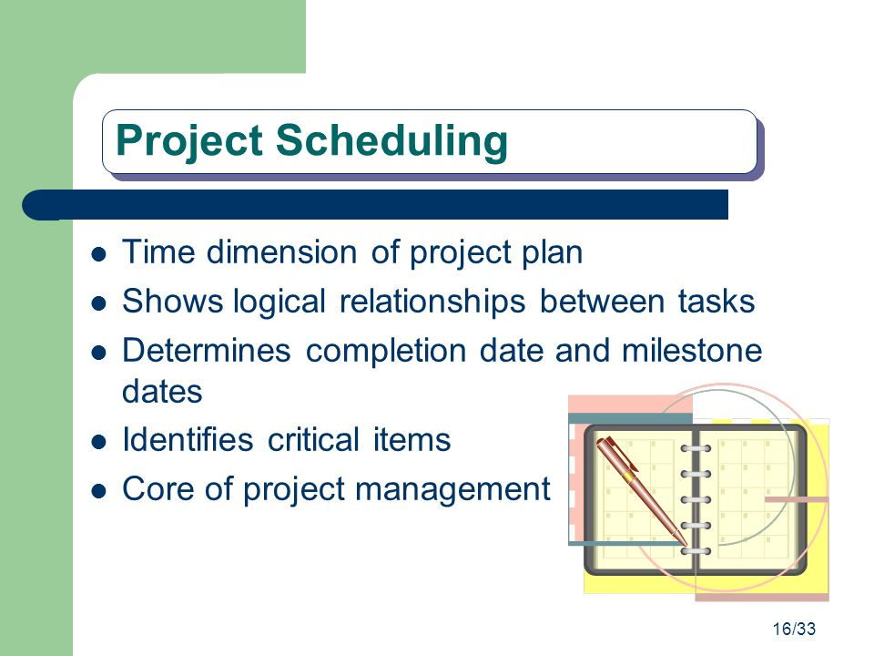 16/33 Project Scheduling Time dimension of project plan Shows logical relationships between tasks Determines completion date and milestone dates Ident