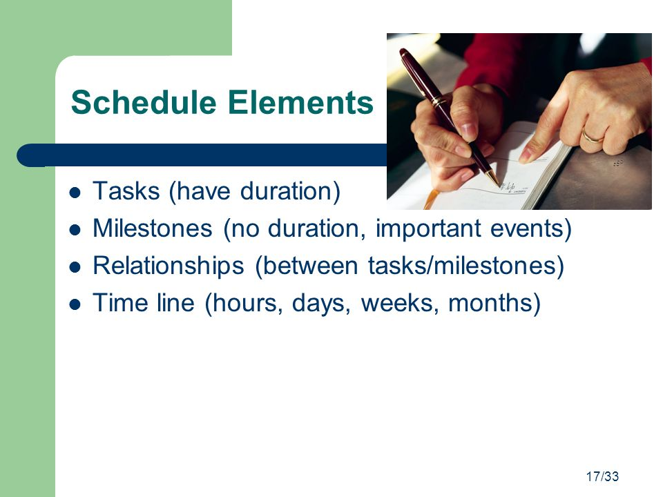 17/33 Schedule Elements Tasks (have duration) Milestones (no duration, important events) Relationships (between tasks/milestones) Time line (hours, da