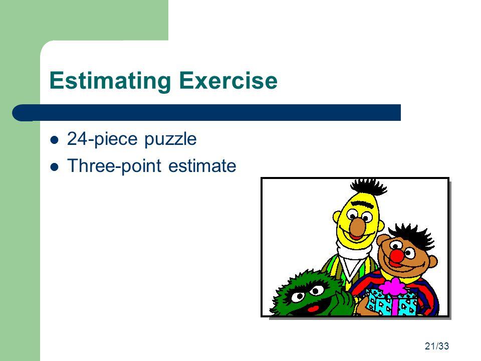 21/33 Estimating Exercise 24-piece puzzle Three-point estimate