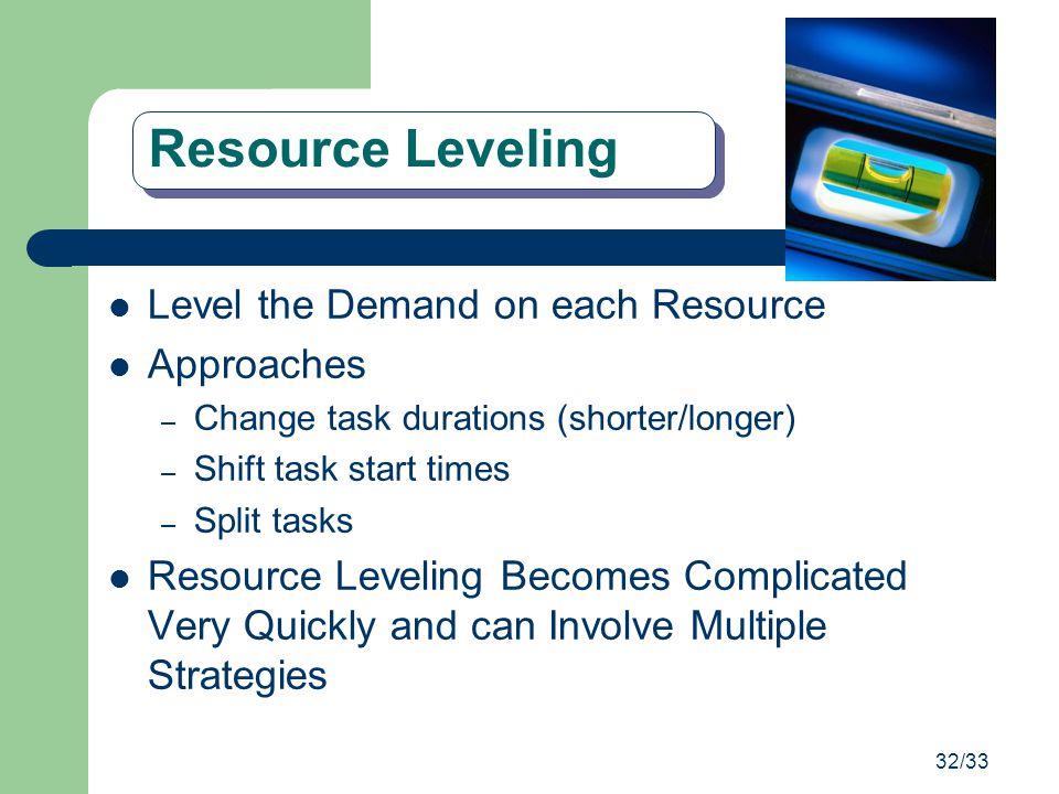 32/33 Resource Leveling Level the Demand on each Resource Approaches – Change task durations (shorter/longer) – Shift task start times – Split tasks R