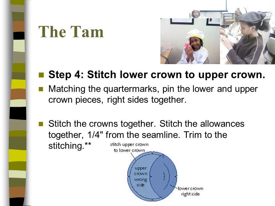 Step 4: Stitch lower crown to upper crown.