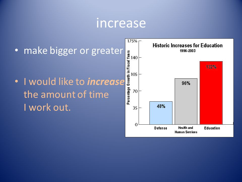 increase make bigger or greater I would like to increase the amount of time I work out.