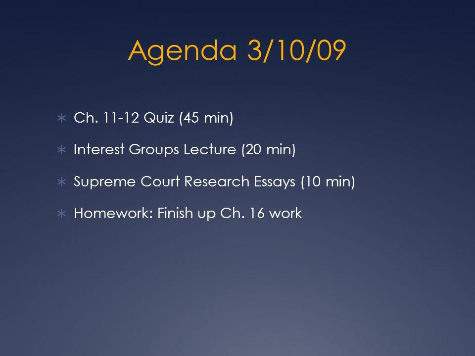 Agenda 3/10/09 Ch.