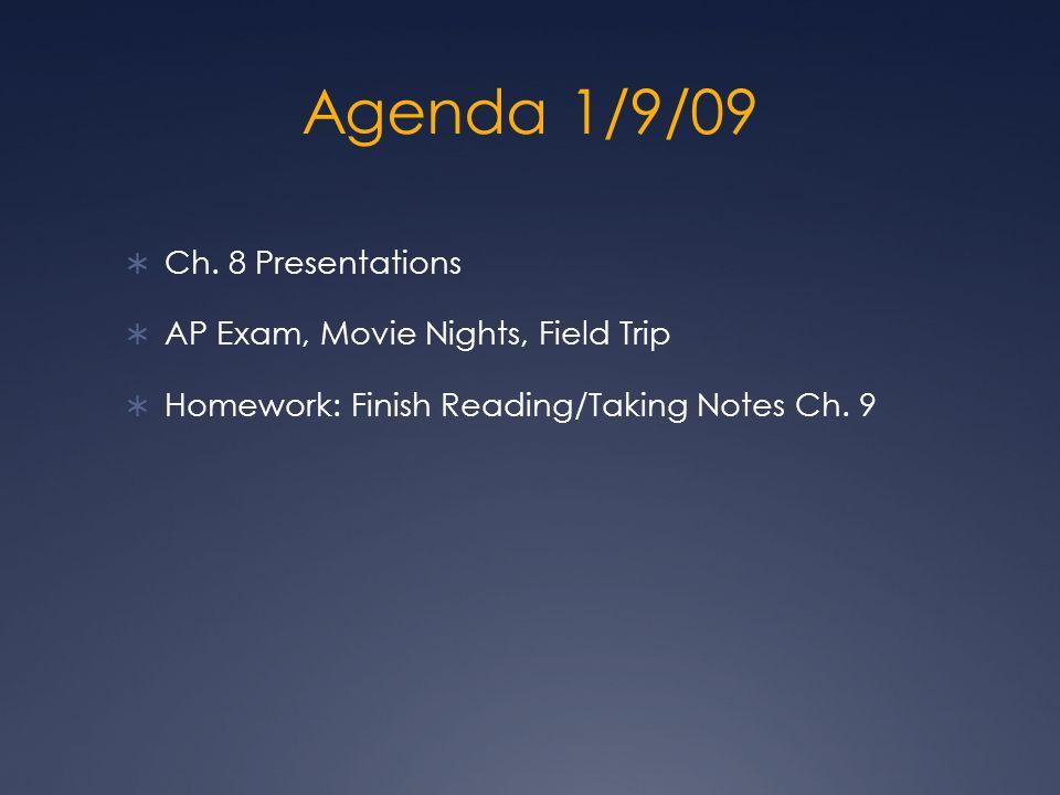 Agenda 1/9/09 Ch.
