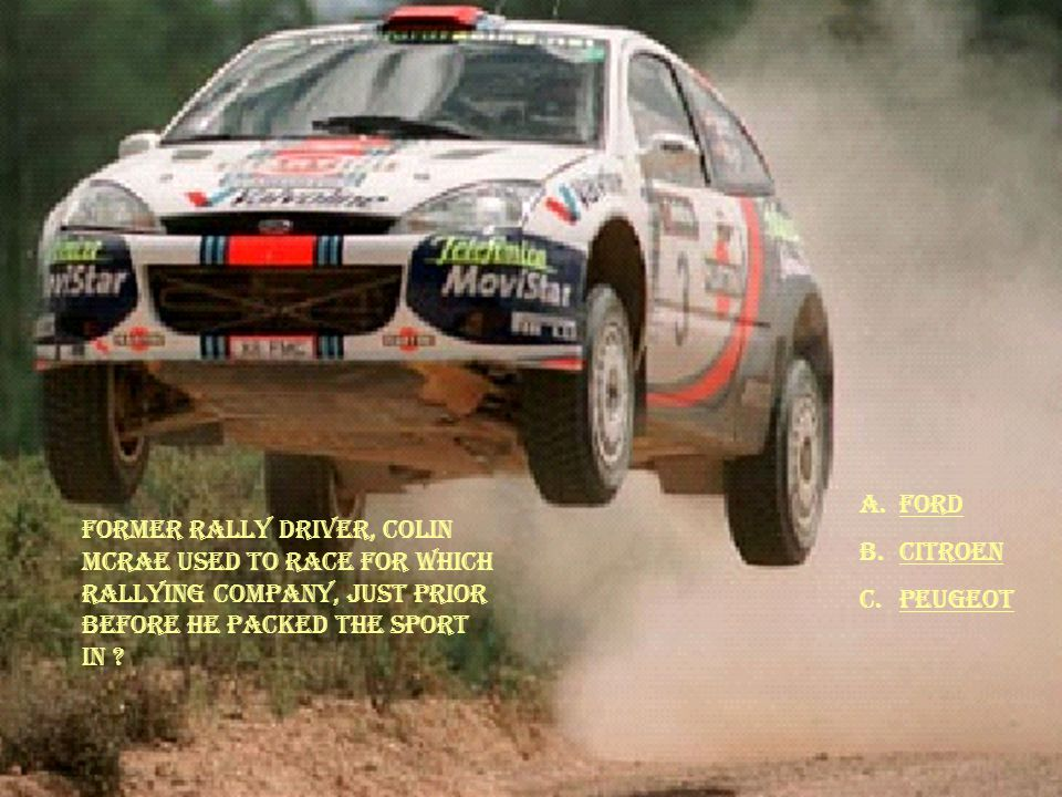 Former Rally Driver, Colin Mcrae used to race for which rallying company, just prior before he packed the sport in .