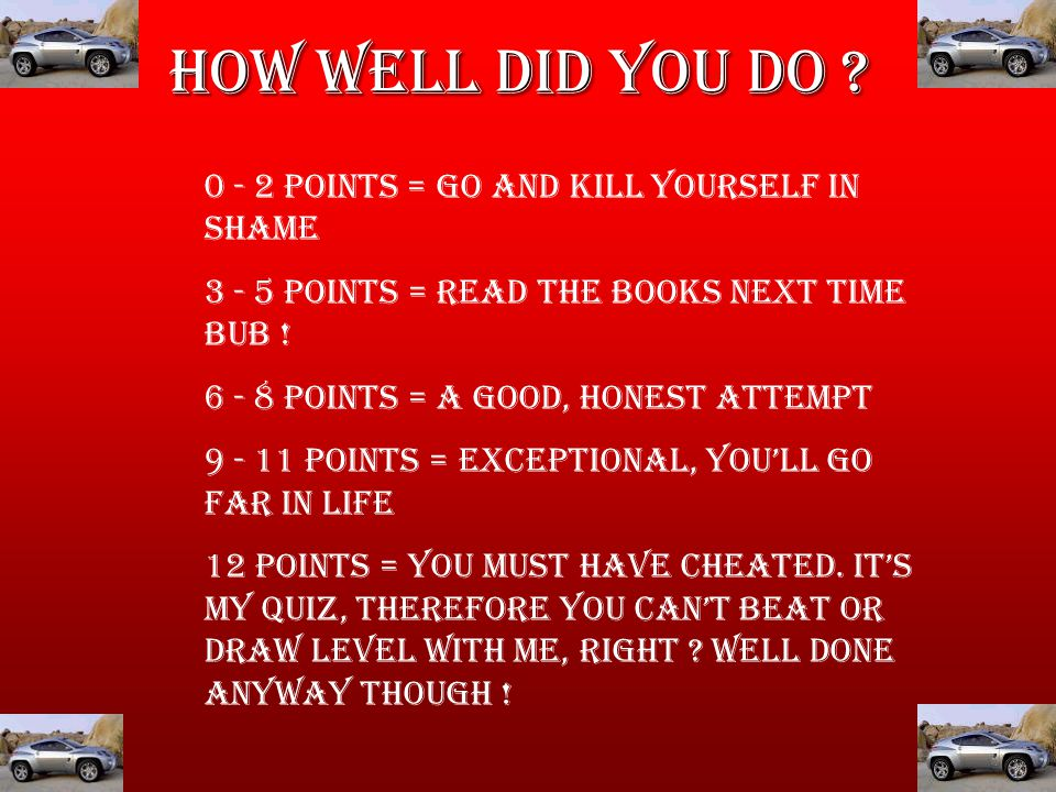 How Well Did you Do .
