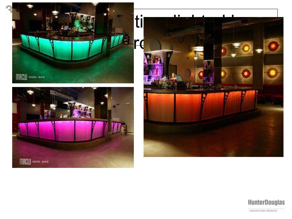 varia installation: lighted bar front