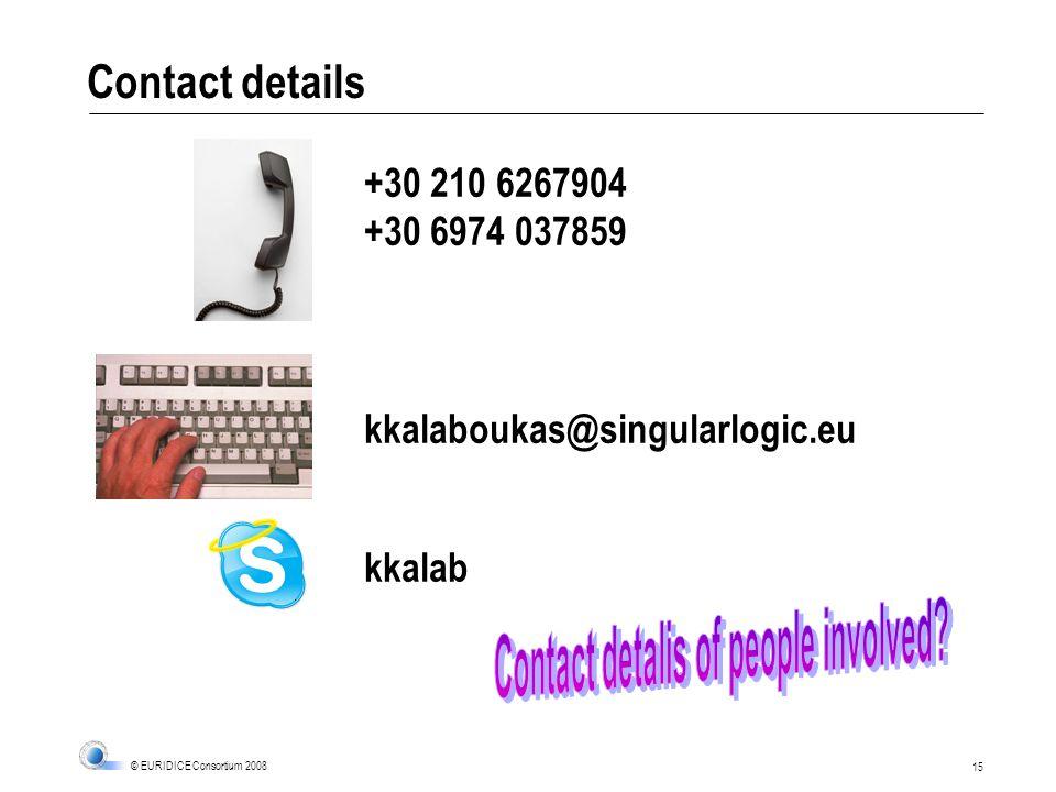 15 © EURIDICE Consortium 2008 Contact details +30 210 6267904 +30 6974 037859 kkalaboukas@singularlogic.eu kkalab