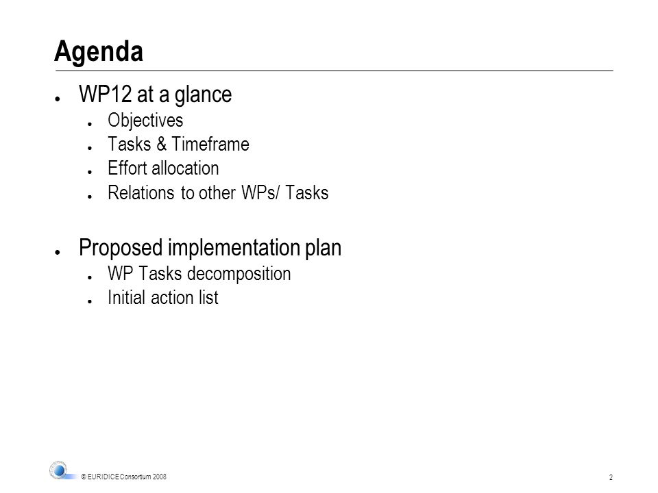 2 © EURIDICE Consortium 2008 Agenda WP12 at a glance Objectives Tasks & Timeframe Effort allocation Relations to other WPs/ Tasks Proposed implementation plan WP Tasks decomposition Initial action list
