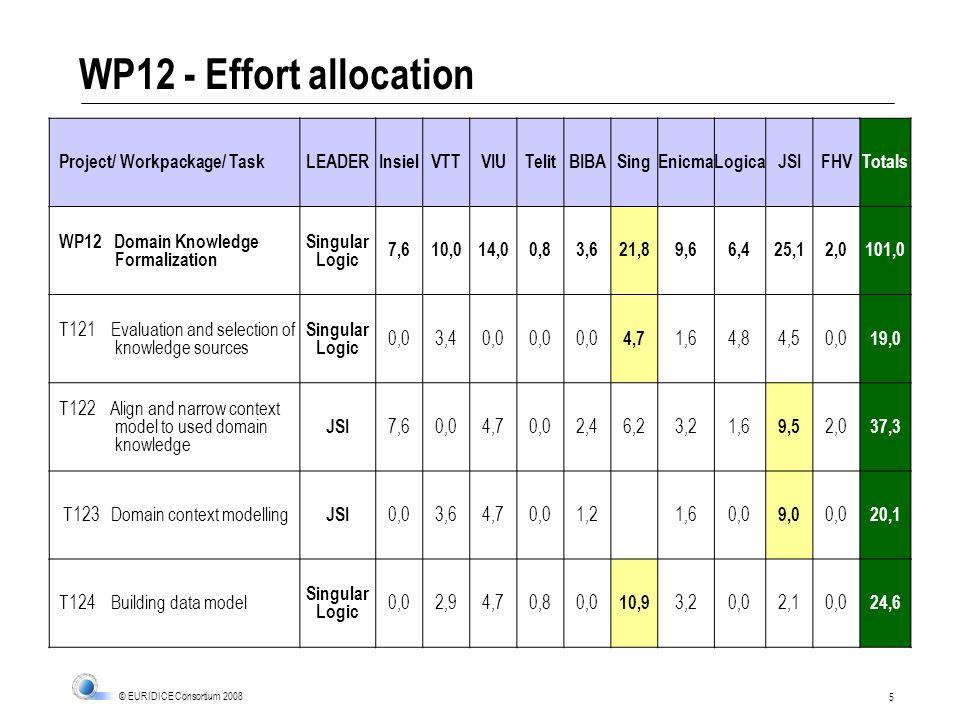 5 © EURIDICE Consortium 2008 WP12 - Effort allocation Project/ Workpackage/ TaskLEADERInsielVTTVIUTelitBIBASingEnicmaLogicaJSIFHVTotals WP12 Domain Kn