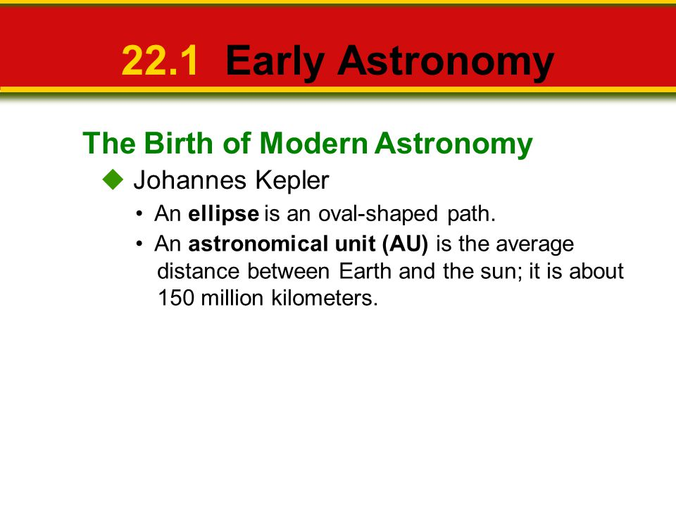The Birth of Modern Astronomy 22.1 Early Astronomy Johannes Kepler An ellipse is an oval-shaped path. An astronomical unit (AU) is the average distanc